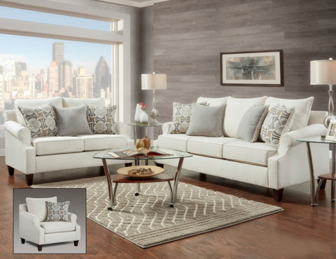 Ethan Cream Sofa & Loveseat Set; 2 PCS. SET - Furnlander