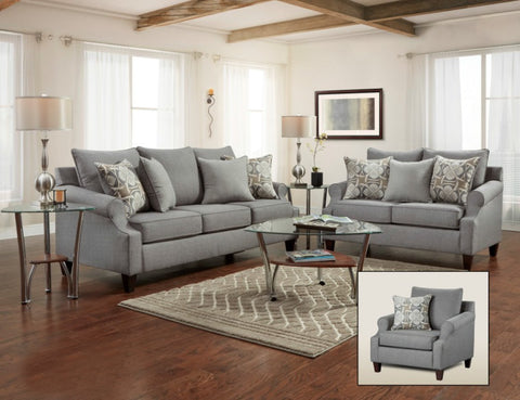 Ethan Gray Sofa & Loveseat Set; 2 PCS. SET