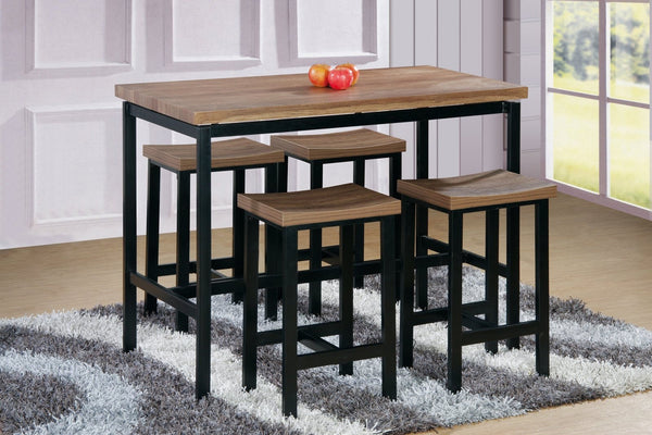 Brooklyn Counter Table Set;  5 PCS. SET (T + 4 CH) Brown - Furnlander