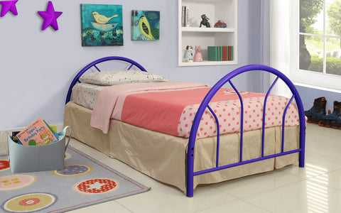 Blue Metal Twin Bed (HB + FB + Rails) - Furnlander