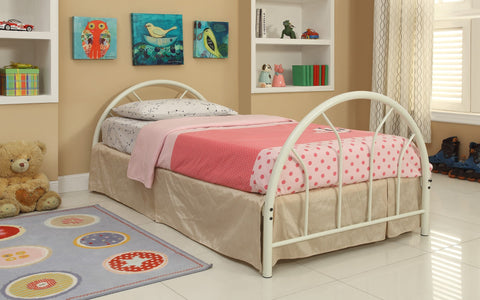 White Metal Twin Bed (HB + FB + Rails) - Furnlander