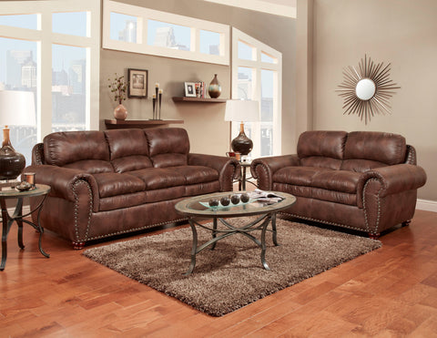 Arabella Espresso Sofa & Loveseat Set;  2 PCS. SET