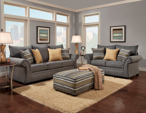 Archer Gray Sofa & Loveseat Set;  2 PCS. SET - Furnlander