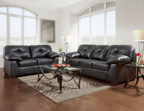 Nevada Black Sofa & Loveseat Set;  2 PCS. SET - Furnlander