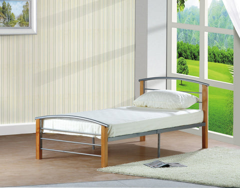 Oak & Silver Metal Bed - Furnlander