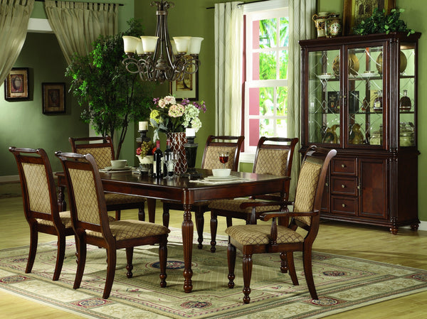 Savannah Formal Dining Table Set;  Table + 4 Side Chairs + 2 Arm Chairs  (7 PCS. SET) - Furnlander