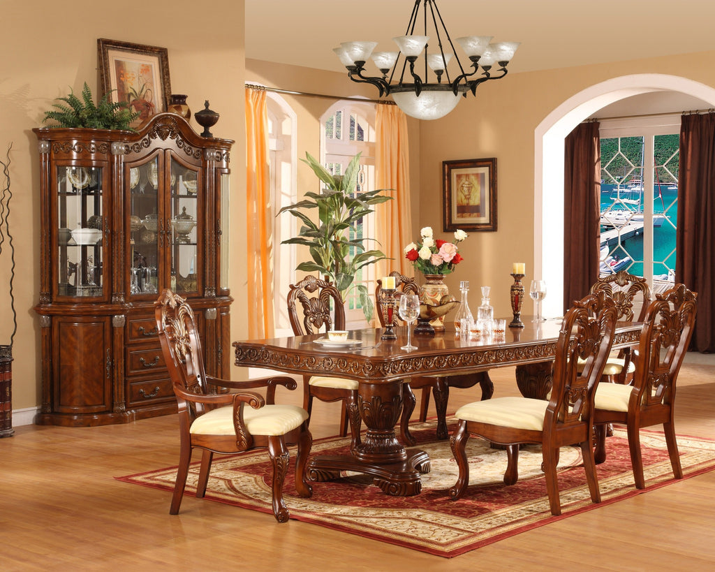 Sahara Double Pedestal Formal Dining Table Set;  Table + 4 Side Chairs + 2 Arm Chairs  (7 PCS. SET) - Furnlander