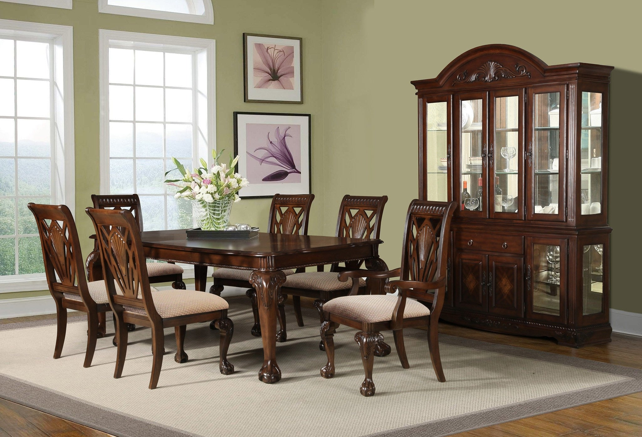Alliston Formal Dining Table Set; Table + 4 Side Chairs + 2 Arm Chairs (7  PCS. SET)