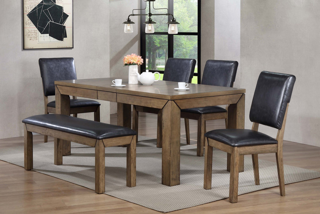 Edison Dining Table Set;  (Table + 4 Side Chairs & Bench)  6 PCS. SET - Furnlander