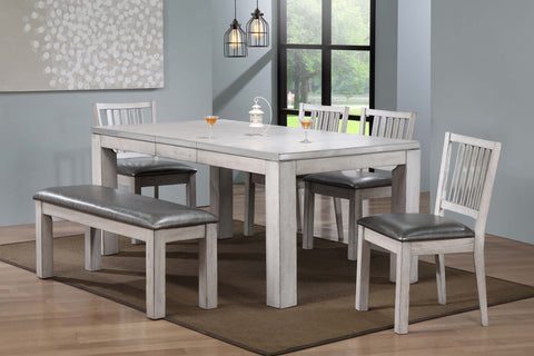 Hillsdale Dining Table Set; Table + 4 Chairs & Bench  (6 PCS. SET) - Furnlander