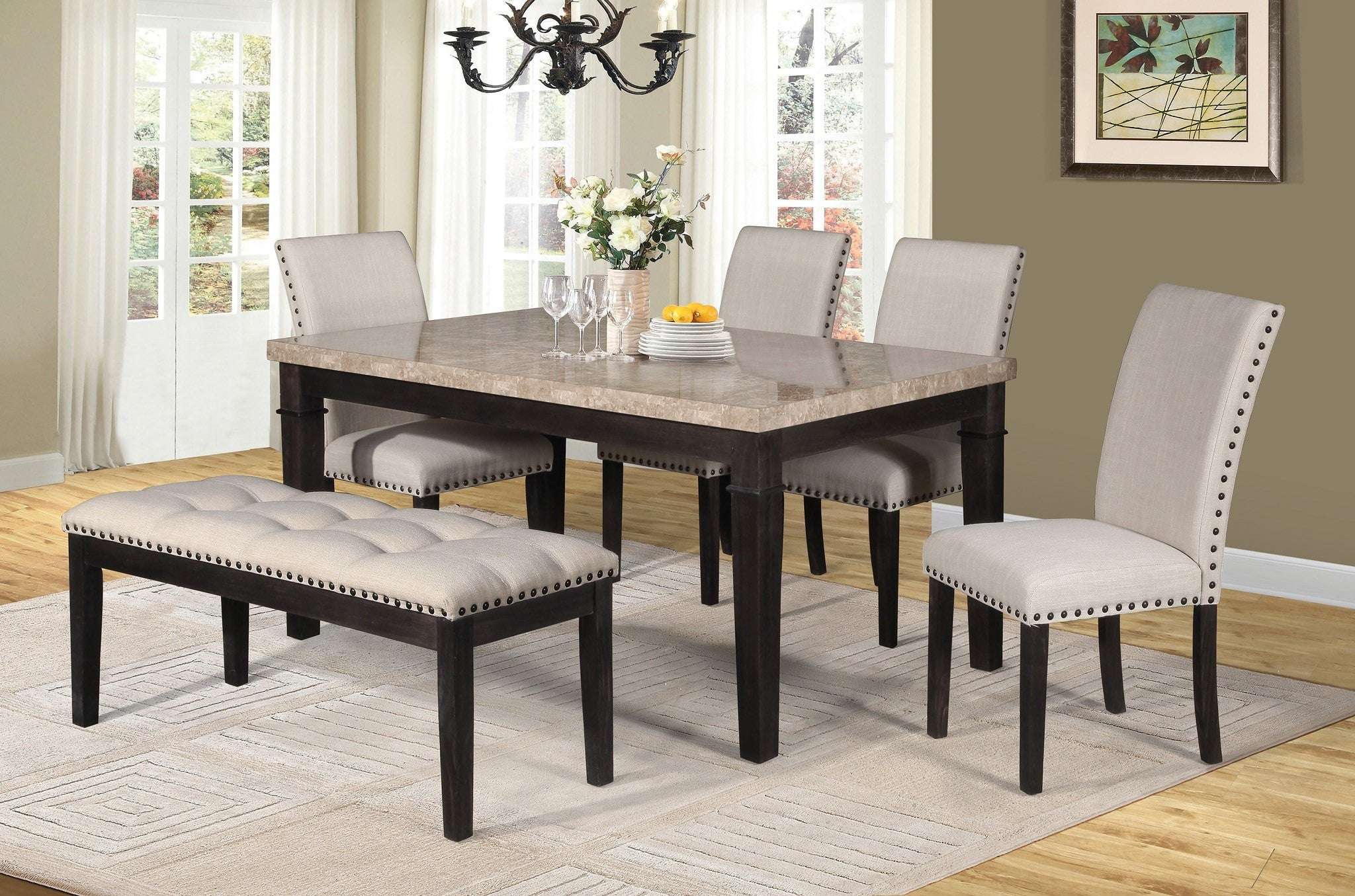 Sutton Dining Table Set; Table + 4 Chairs + Bench (6 PCS. SET)