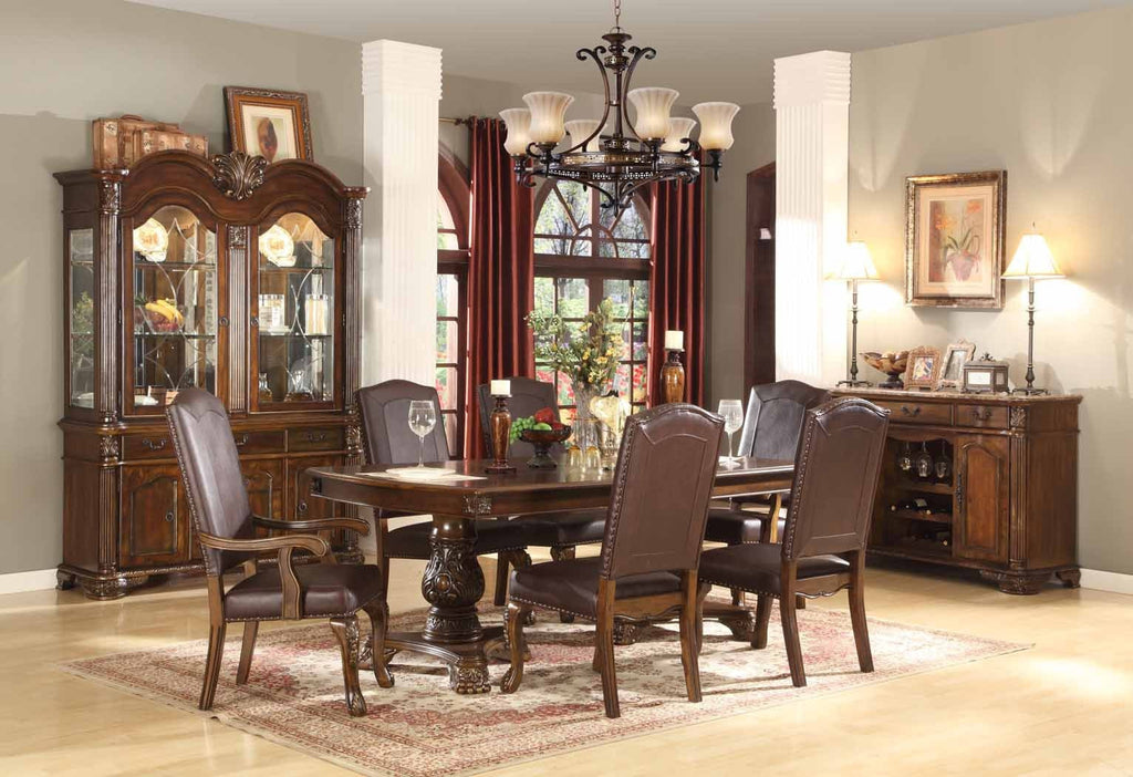 Estella Formal Dining Table Set;  Table + 4 Side Chairs + 2 Arm Chairs  (7 PCS. SET) - Furnlander