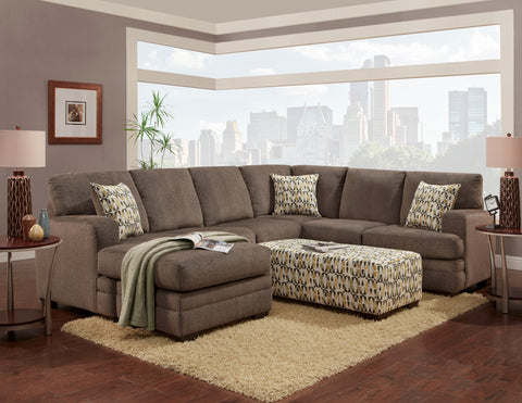 Azalea Pewter Sectional Sofa Set - Furnlander