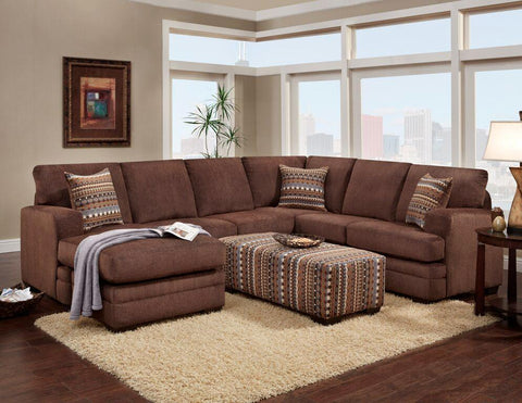 Azalea Chocolate Sectional Sofa Set - Furnlander