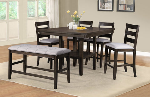 Midgard Counter Table w/Inlay Lazy Susan Set;  Table + 4 Chairs + Bench  (6 PCS.SET) - Furnlander
