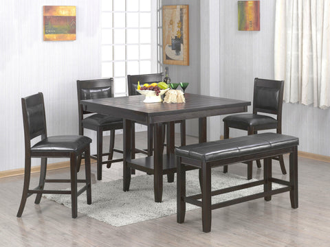 Avalon Counter Table w/Inlay Lazy Susan;  Table + 4 Chairs + Bench (6 PCS. SET) - Furnlander