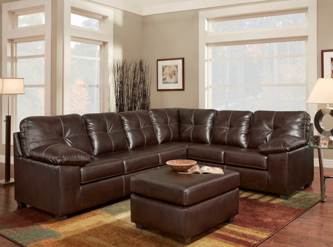 Lavery Chocolate Sectional Sofa Set
