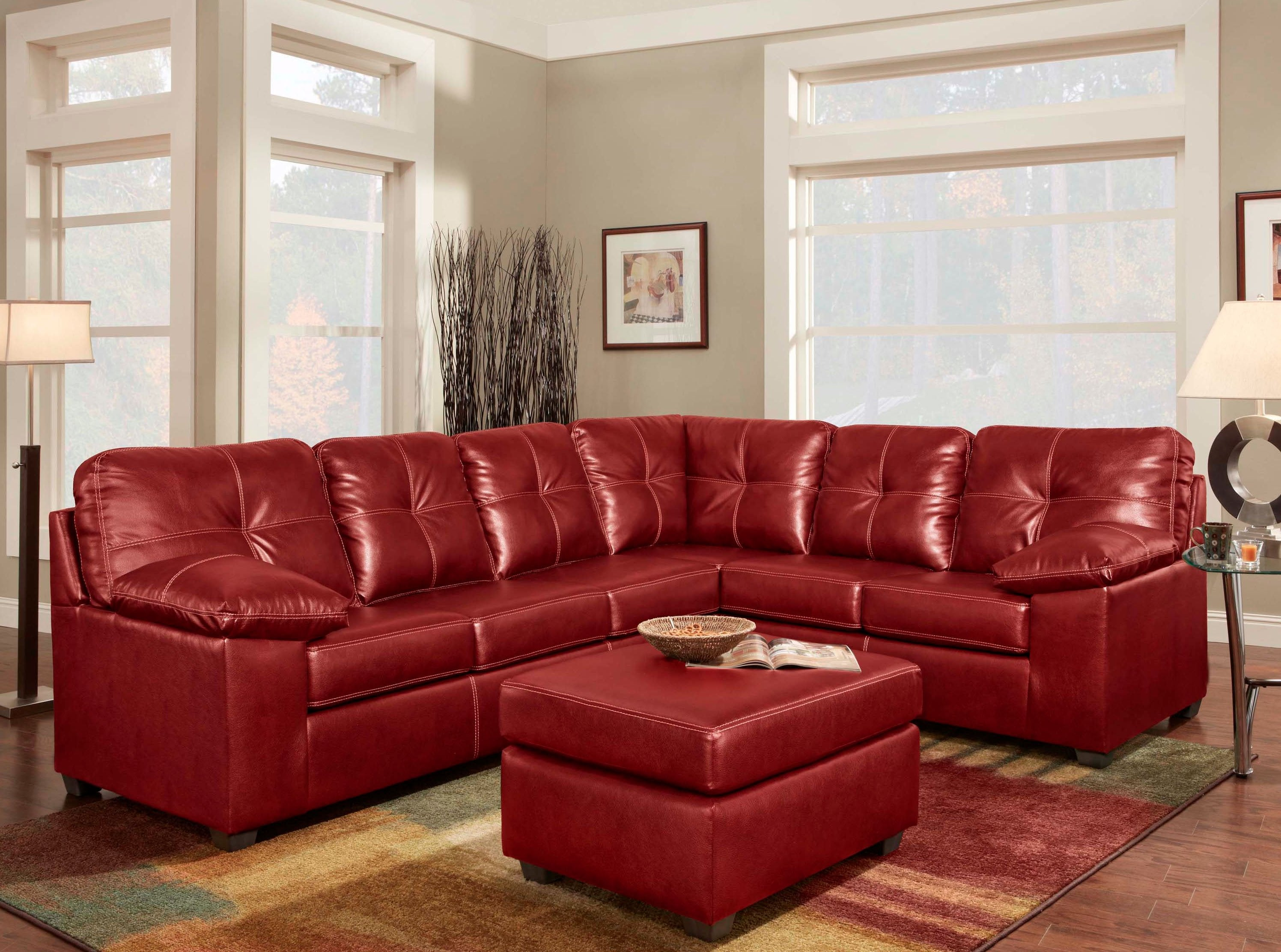 Lipstick Red Sectional Sofa Set