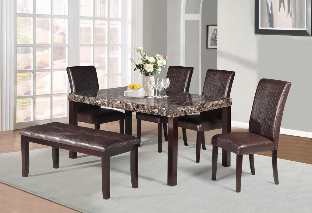 Raleigh Dining Table Set; Table + 4 Chairs + Bench  (6 PCS. SET) - Furnlander