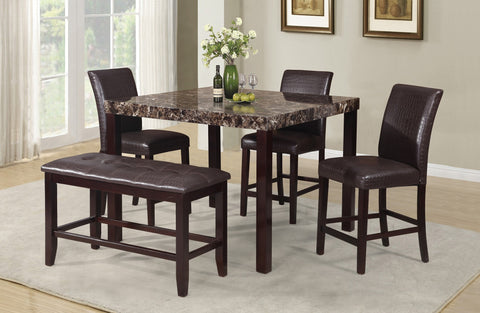 Raleigh Counter Table Set;  Table + 4 Chairs + Bench  (6 PCS. SET) - Furnlander