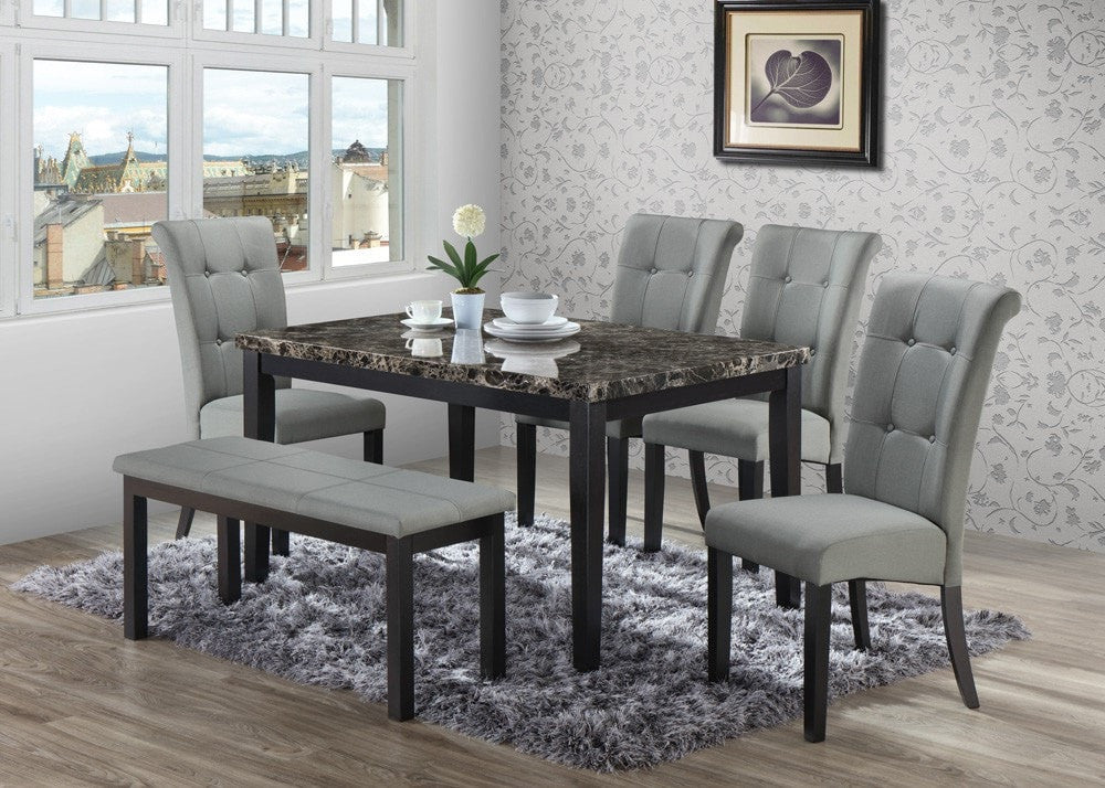 Surprising Butterfield Gray Dining Table Set Table 4 Chairs Bench 6 Pcs Set Creativecarmelina Interior Chair Design Creativecarmelinacom
