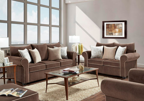 Beladonna Fudge Sofa & Loveseat Set;  2 PCS. SET - Furnlander