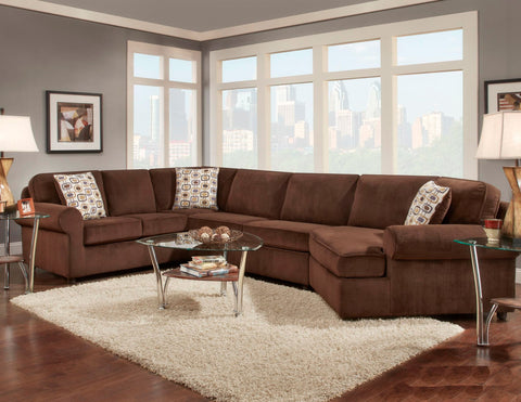 Mansion Chocolate Sectional Sofa Set - Furnlander