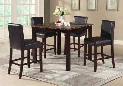 Amado Counter Table Set;  Table + 4 Chairs  (5 PCS. SET) - Furnlander