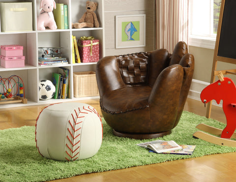 Baseball Glove Swivel Chair w/ Ottoman - Furnlander