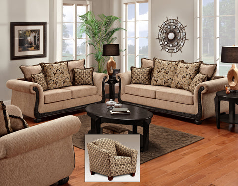Scarlet Taupe Sofa & Loveseat Set;  2 PCS. SET - Furnlander