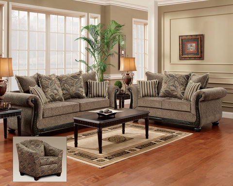 Scarlet Java Sofa & Loveseat Set;  2 PCS. SET - Furnlander
