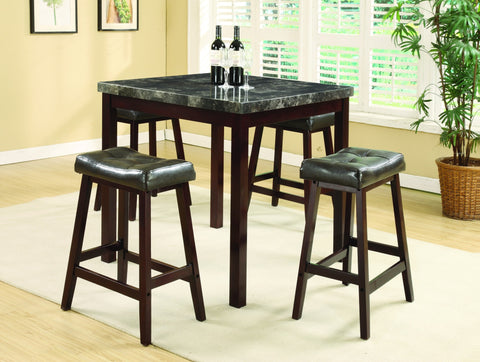 Napoleon Black Counter Table Set;  Table + 4 Chairs  (5 PCS. SET) - Furnlander