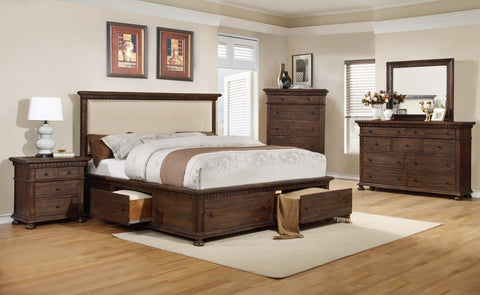 Rustic Bed w/4 Drawers;  4 PCS. SET (QB, NS, DR, MR) - Furnlander