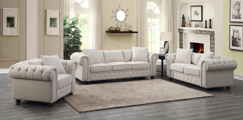Regatta Beige Linen Sofa & Loveseat Set; 2 PCS. SET - Furnlander