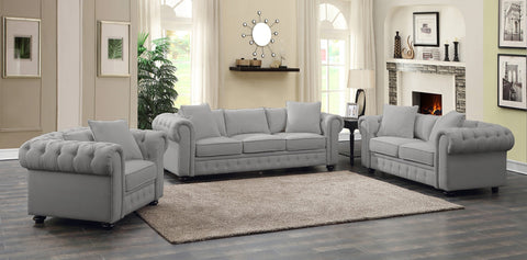 Regatta Gray Linen Sofa & Loveseat Set;  2 PCS. SET - Furnlander