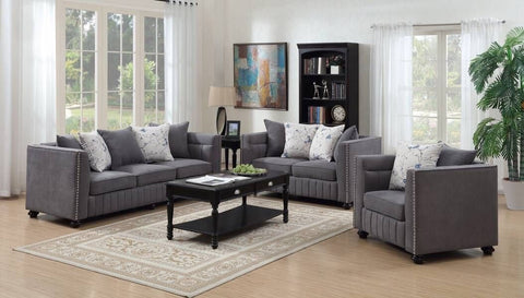 Kingston Fabric Gray Sofa & Loveseat Set;  2 PCS. SET - Furnlander