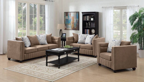 Kingston Fabric Taupe Sofa & Loveseat Set;  2 PCS. SET - Furnlander