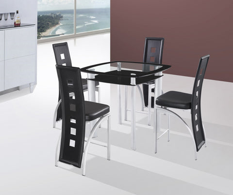 Gavin Black Counter Table Set;  Table + 4 Chairs  (5 PCS. SET) - Furnlander