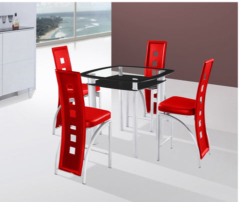 Gavin Red Counter Table Set;  Table + 4 Chairs  (5 PCS. SET) - Furnlander
