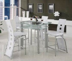 Gavin White Counter Table Set;  Table + 4 Chairs  (5 PCS. SET) - Furnlander