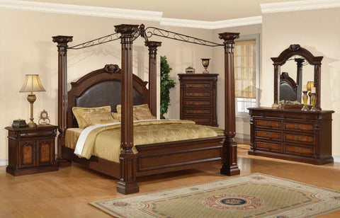 Huges Canopy Bed;  4 PCS. SET (QB, NS, DR, MR) - Furnlander
