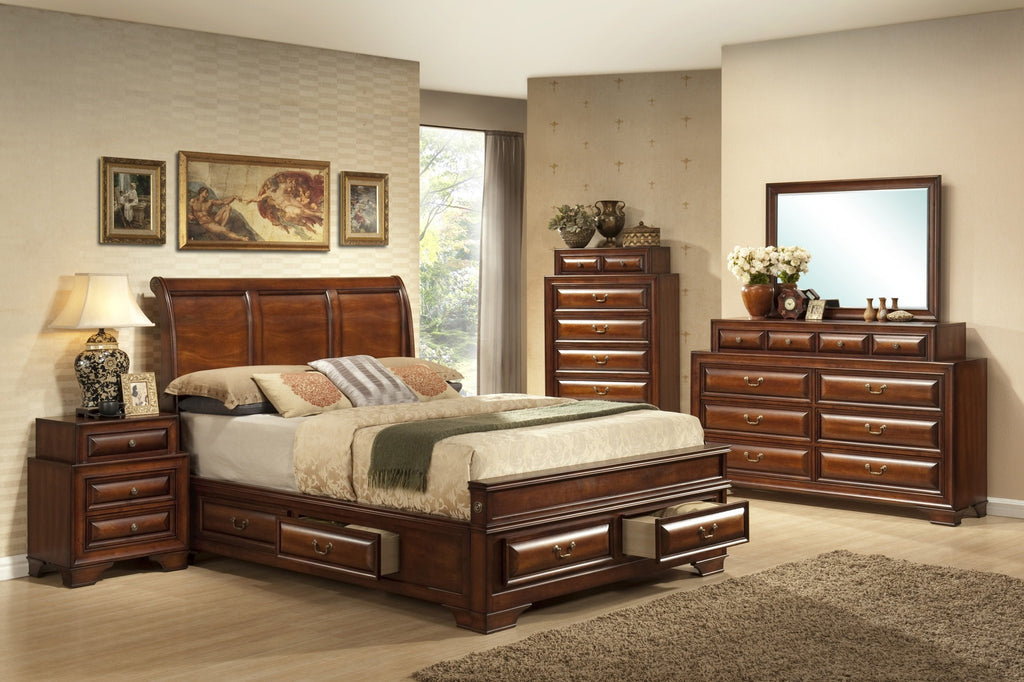 Kaylee Bed w/6 Drawers;  4 PCS. SET (QB, NS, DR, MR) - Furnlander