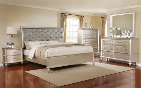 Champagne Tufted Bed;  4 PCS. SET (QB, NS, DR, MR) - Furnlander