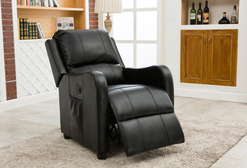 Hitchcock PU Power Recliner Black - Furnlander