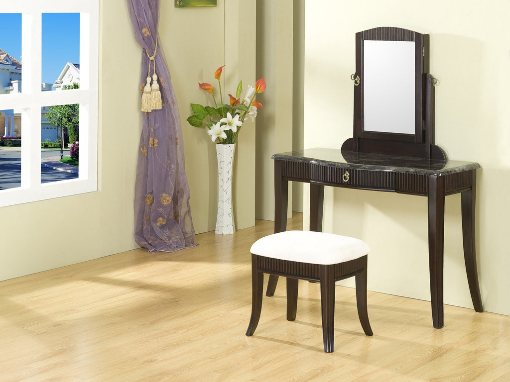Garrison Vanity Set w/ Hidden Jewelry Cabinet Black  2 PCS. SET - Furnlander
