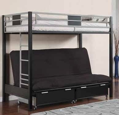 Twin / Futon Black / Silver Metal Bunk Bed - Furnlander