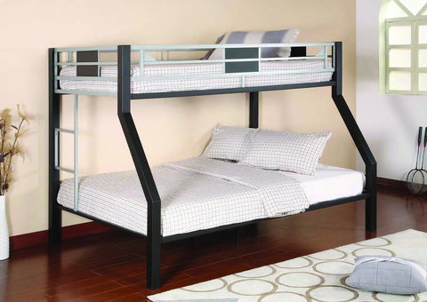 Twin / Full Black & Silver Metal Bunk Bed - Furnlander