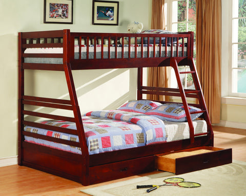 Twin / Full Wood Bunk Bed  Cherry - Furnlander