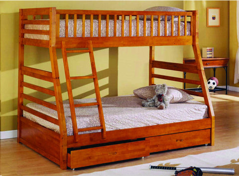 Twin / Full Wood Bunk Bed  Oak - Furnlander