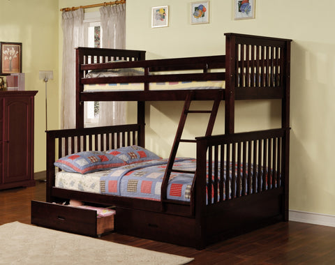 Wood Convertible Twin / Full Bunk Bed Espresso - Furnlander